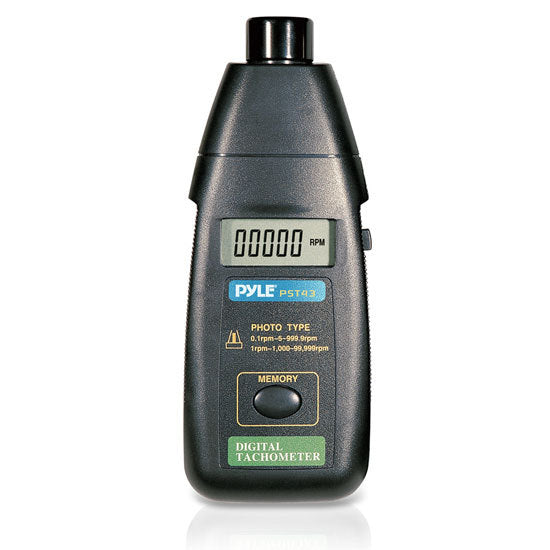 Precision Non-Contact Laser Tachometer W/ Extended RPM Range, Digital LCD Screen, & Protective Case