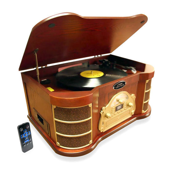 Bluetooth Vintage Classic-Style Turntable Speaker System with CD & Cassette Players, Vinyl-to-MP3 Recording, MP3/USB Reader, AM/FM Radio