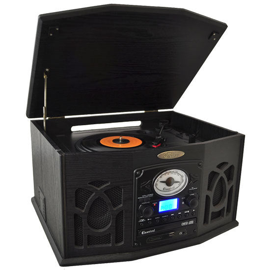 Vintage Classic-Style Turntable System with Built-in Speakers, AM/FM Radio, CD & Cassette Players, USB/SD Readers, Vinyl-to-MP3 Recording