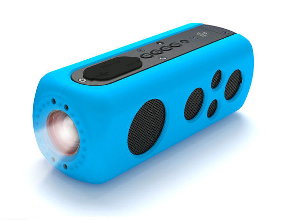 SoundBox Splash 2 Bluetooth Rugged and Splash-Proof Speaker System with Built-in LED Flashlight, Hand Crank Turbine Charger and AUX Input (Blue Color)