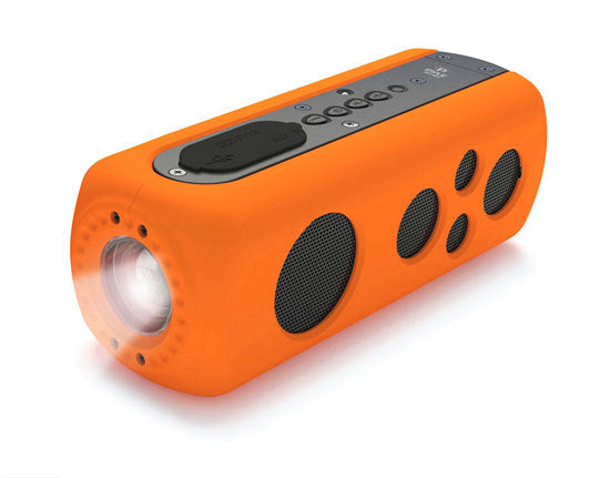 SoundBox Splash 2 Bluetooth Rugged and Splash-Proof Speaker System with Built-in LED Flashlight, Hand Crank Turbine Charger and AUX Input (Orange Color)