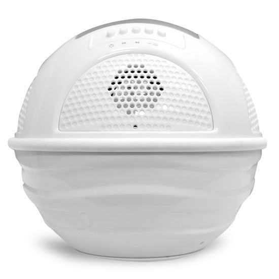 Aqua Blast Bluetooth Floating Pool Speaker System with Built-in Rechargeable Battery and Wireless Music Streaming (White Color)