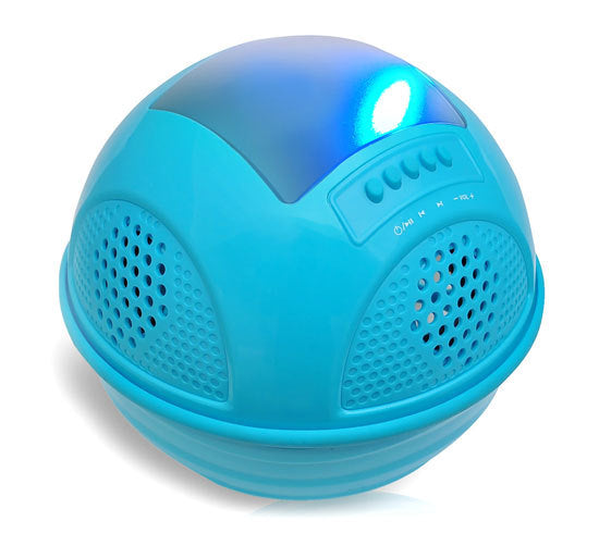 Aqua SunBlast Floating Bluetooth Waterproof Pool Speaker System with Built-in Solar Panel Rechargeable Battery, (4) Built-in Speakers, FM Radio, Micro SD Memory Card Reader (Blue Color)