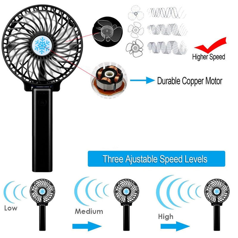 Portable Rechargeable USB Fan Air Cooler Mini Operated Hand Held Protable No Battery