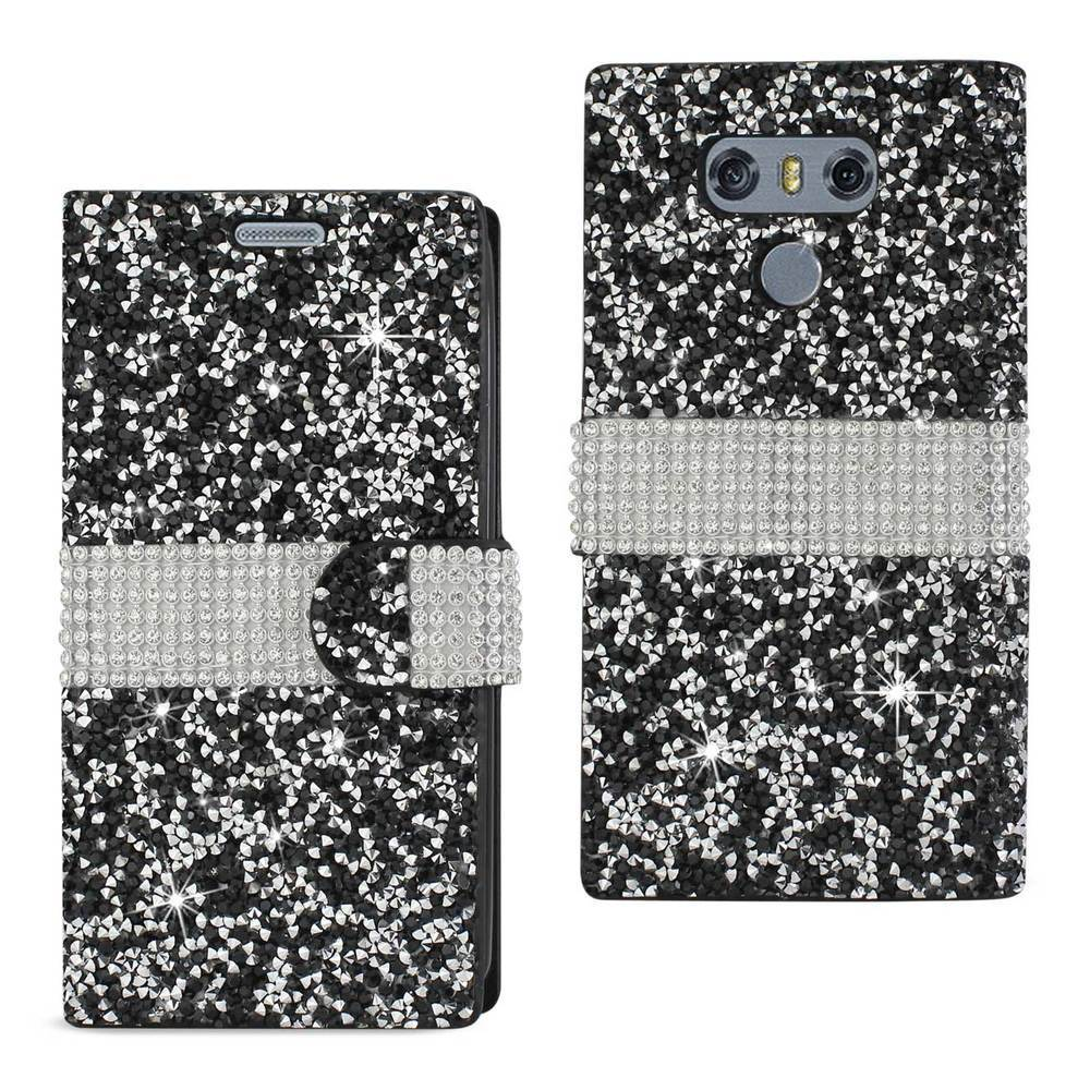 REIKO LG G6 DIAMOND RHINESTONE WALLET CASE IN BLACK