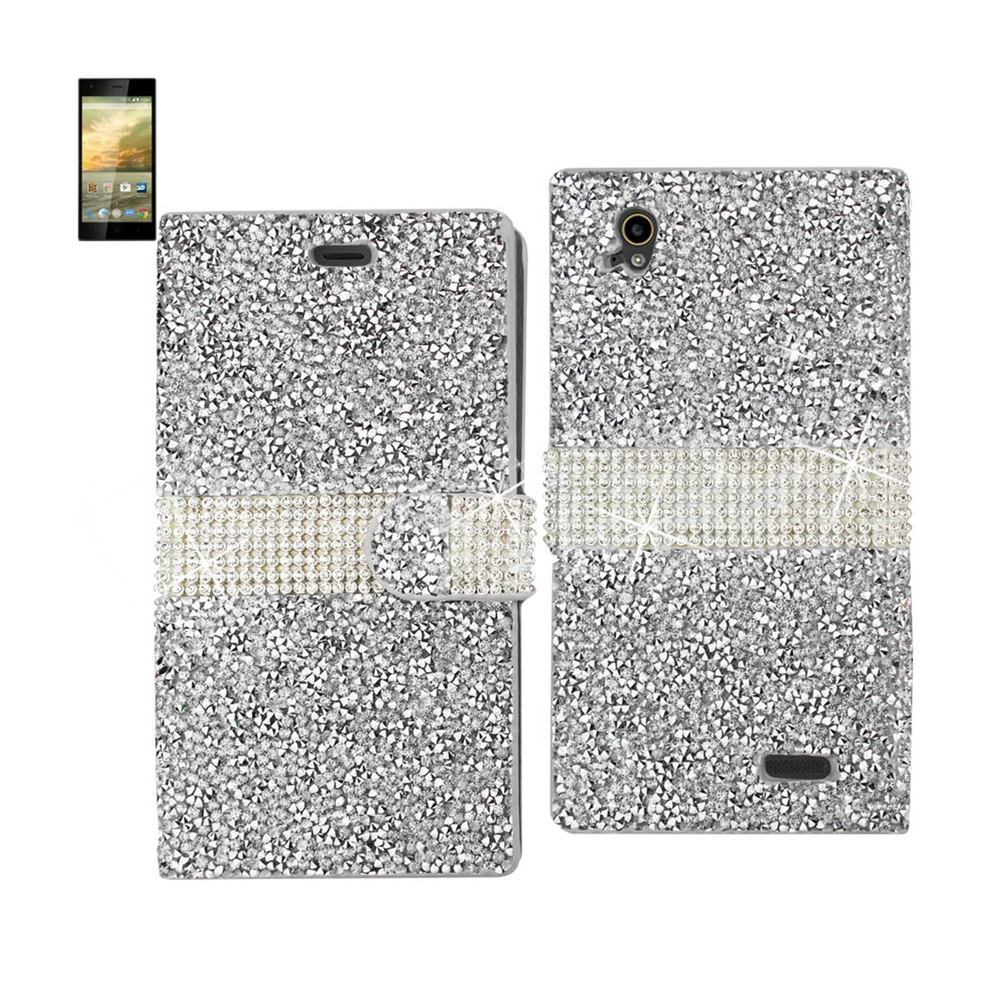 REIKO ZTE WARP ELITE JEWELRY RHINESTONE WALLET CASE IN SILVER