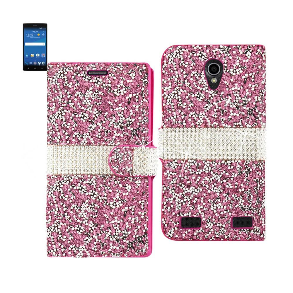 REIKO ZTE ZMAX 2 JEWELRY RHINESTONE WALLET CASE IN PINK