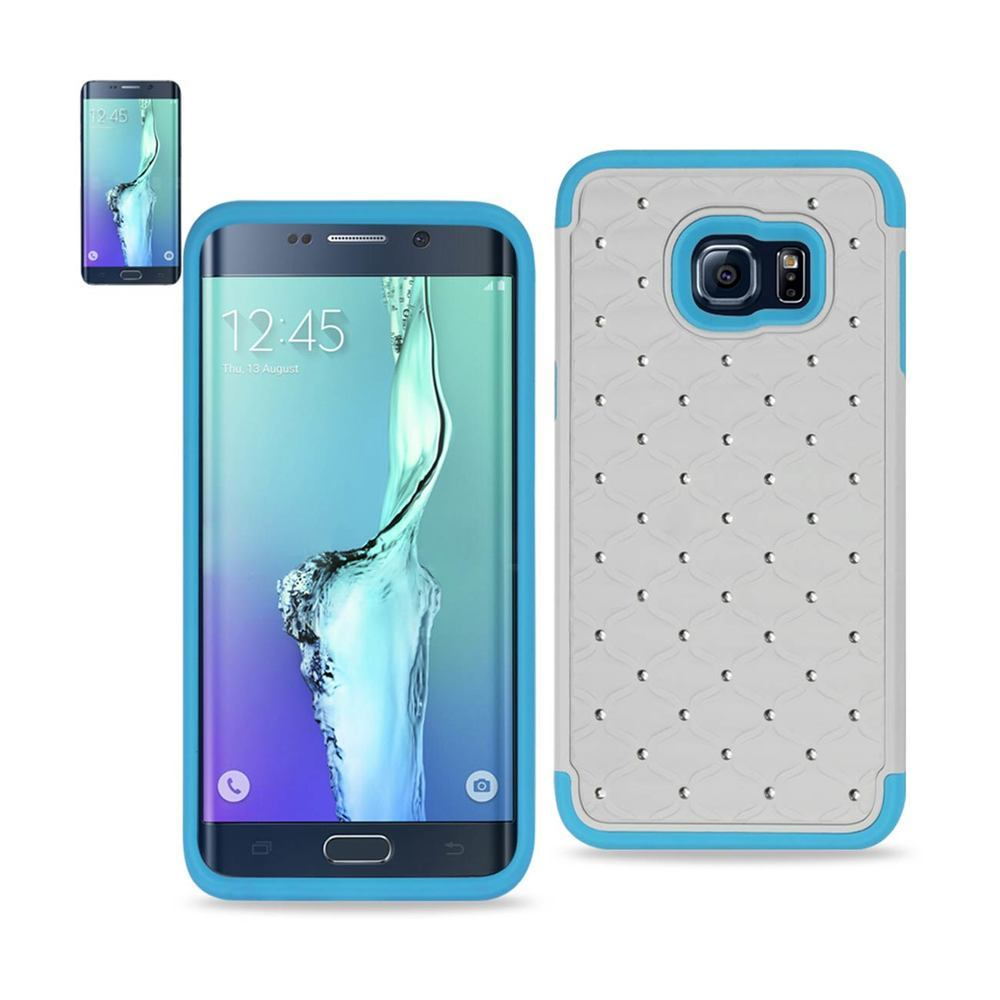 REIKO SAMSUNG GALAXY S6 EDGE PLUS HYBRID HEAVY DUTY JEWELRY DIAMOND CASE IN BLUE WHITE