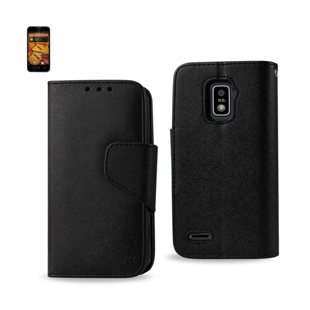 REIKO ZTE WARP 4G 3-IN-1 WALLET CASE IN BLACK