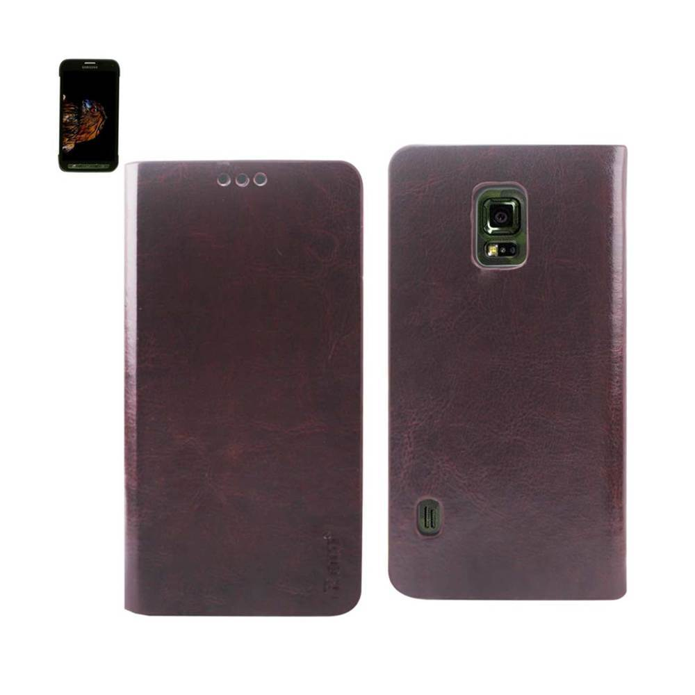 REIKO SAMSUNG GALAXY S5 ACTIVE FLIP FOLIO CASE WITH CARD HOLDER IN BROWN