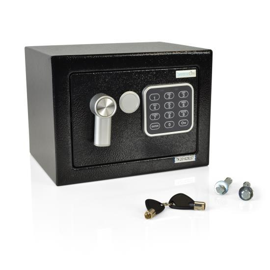 Compact Electronic Safe Box with Mechanical Override, Includes Keys