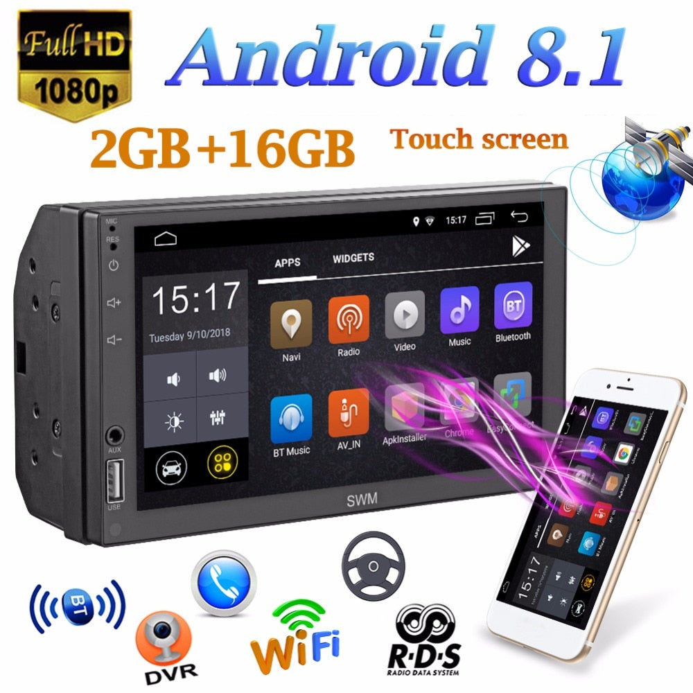 "SWM A1 2 Din 7"" Car Multimedia Player Quad-core Android 8.1 Car Stereo MP5 Player GPS Navi WiFi RDS FM AM Bluetooth Touch Screen"