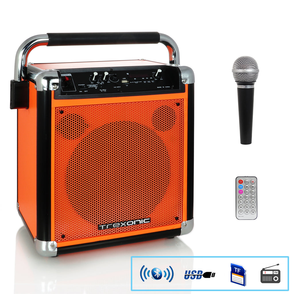 Trexonic Wireless Portable Party Speaker with USB Recording, FM Radio & Microphone, Orange