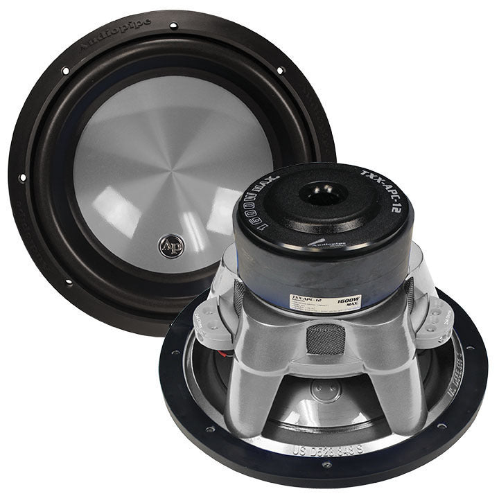 "Audiopipe 12"" Woofer 1600W Max 4 Ohm DVC Flat Gray"