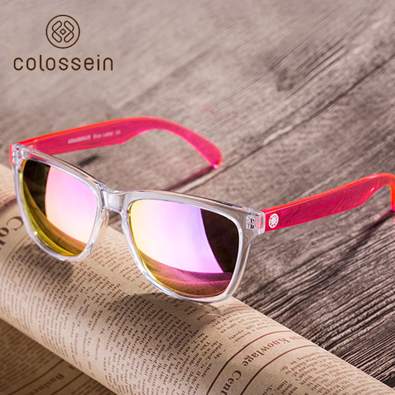 COLOSSEIN Sports Sunglasses Women Fashion Sun Glasses Colorful Square Frame Eyewear Holiday Beach Style Adult Glasses UV400