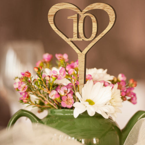 Wooden Wedding Table Flower Seat Card Number 1-10