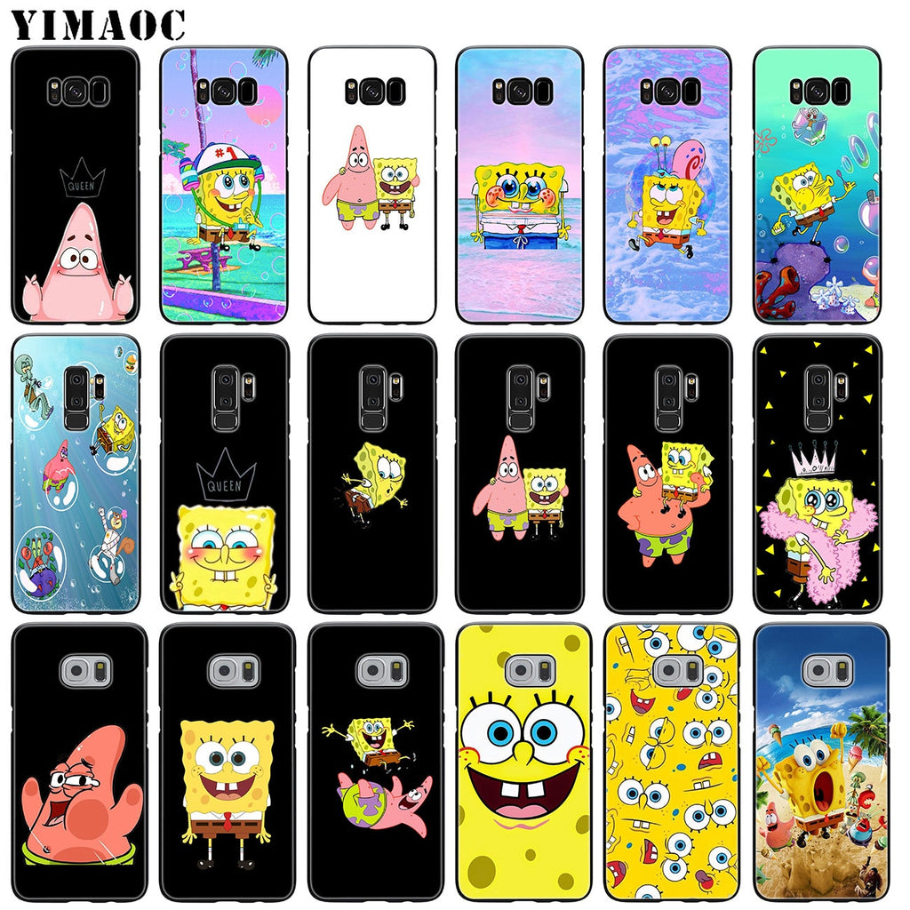 YIMAOC Spongebob Soft Silicone Phone Case for Samsung Galaxy S9 + S8 Plus S6 S7 Edge Note 8 9 TPU Black Cover