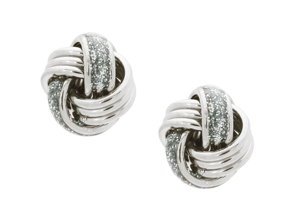 Sparkling Thick Love Knot Post Earrings