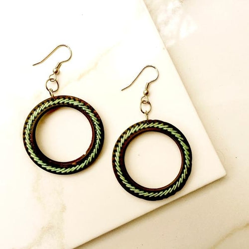Aqua Threaded Hoop Earrings