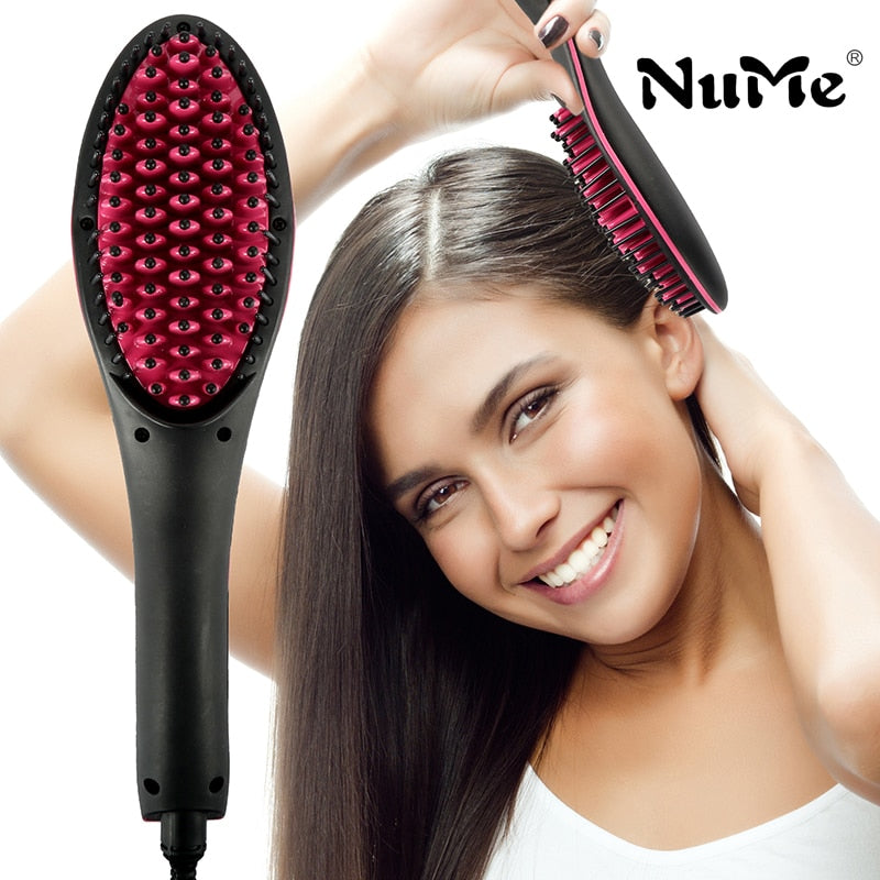 NuMe Ceramic Hair Straightener Brush Fast Straightening hair Electric Comb Flat Iron LCD Display Digital Heating hair Brush Gift