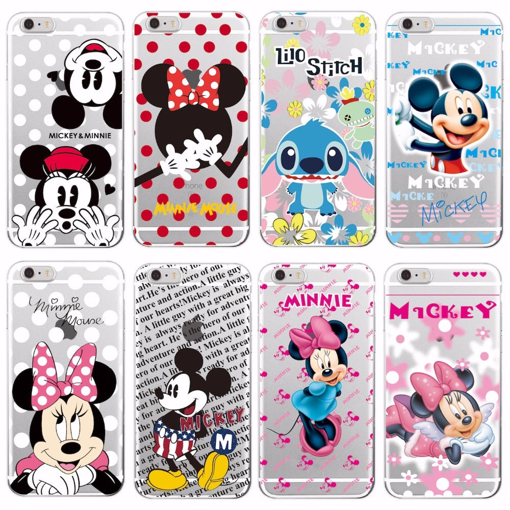 For iPhone 5 6 7Plus 8 8Plus X XS Max Samsung Minnie Mickey Cartoon Stitch Piglet Daisy Pooh Bear Characters Soft Phone Case