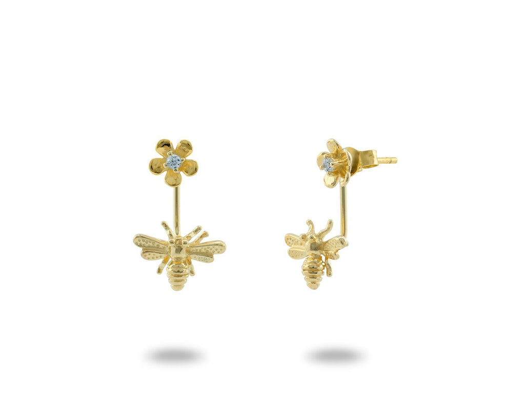 Top & Bottom Golden Bumble Bee Earrings