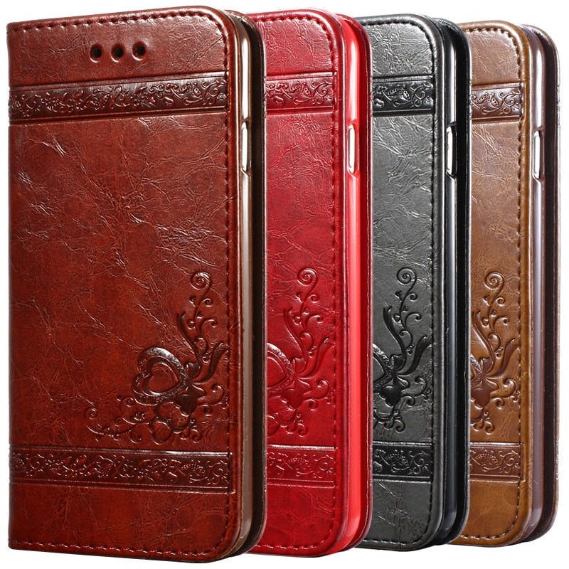 5 5S 6s Luxury Flip Leather Case For iPhone 6 6s 7 Plus 3D Wallet Coque + Silicone Back Cover For iPhone 6 6S Plus iPhone 7 Plus