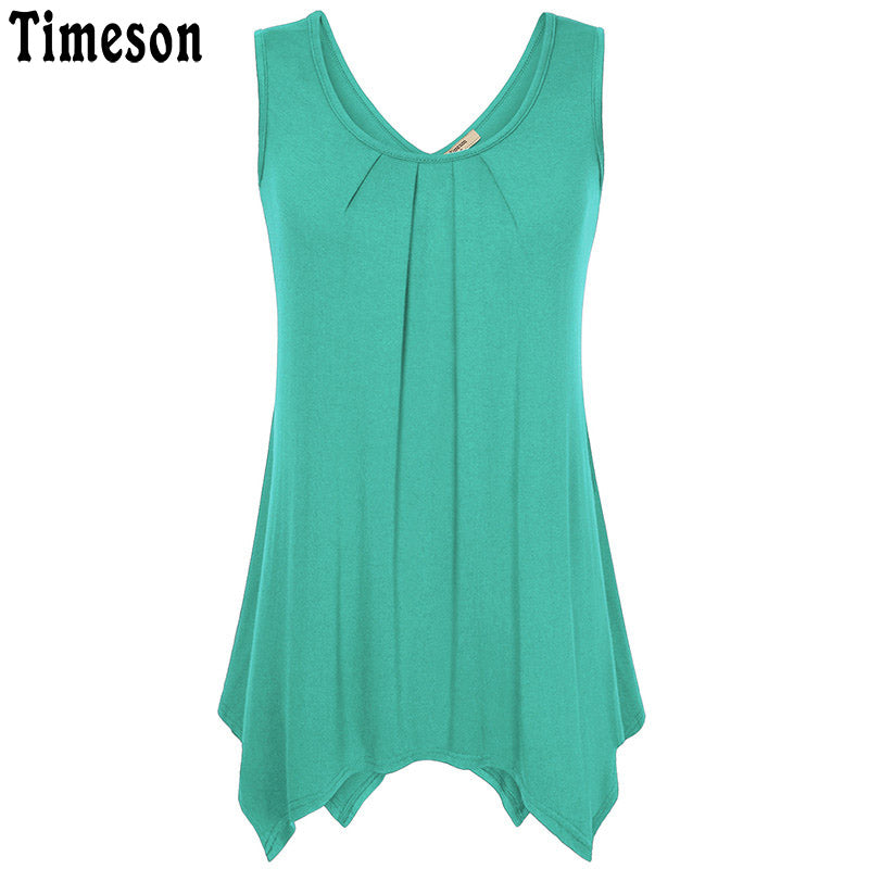 Timeson Casual Loose Plus Size XXXL Tank Women Irregular Hem Female Knitted Tops 2018 Sleeveless Long Tunic Camisole Vest