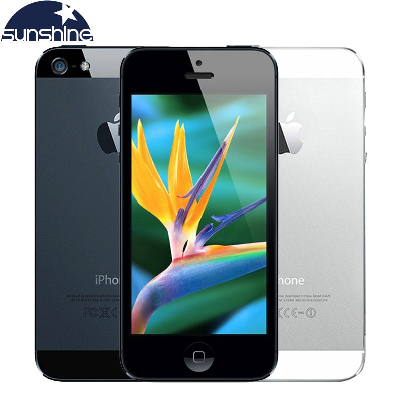 "Original Unlocked Apple iPhone 5 IOS Mobile Phone 8.0MP 4"" Used Phone 1080P WCDMA GPS WIFI Cell Phones"