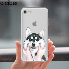 ciciber Animal Cute Pug Dog Pattern Design Soft Silicon Phone Cases Cover for IPhone 6 6S 7 8 Plus 5S SE X Capinha Coque Fundas