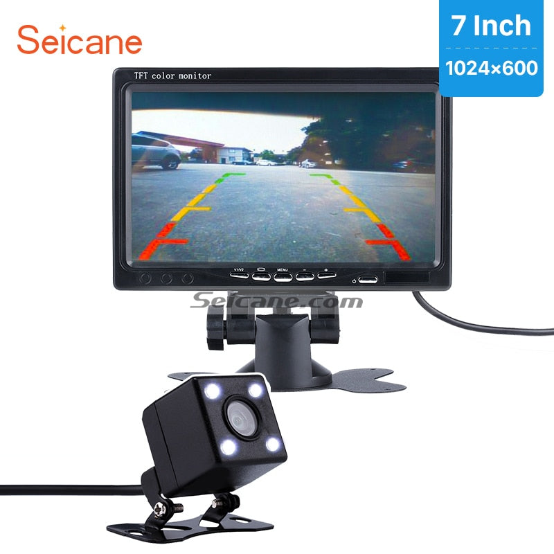 "Seicane 7"" Car Monitor DVR TFT LCD Digital Display Video Recoder AV  with HD Parking Car Reverse Rear View Backup Camera free"