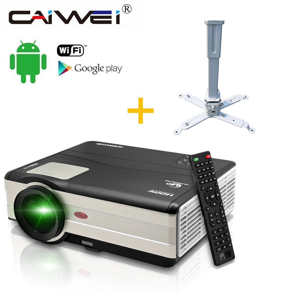 Android WIFI Google Airplay LED 1080P HD Home Projector Cinema Theater Movie VGA TV Channel USB HDMI AV with Wall Mount Holder
