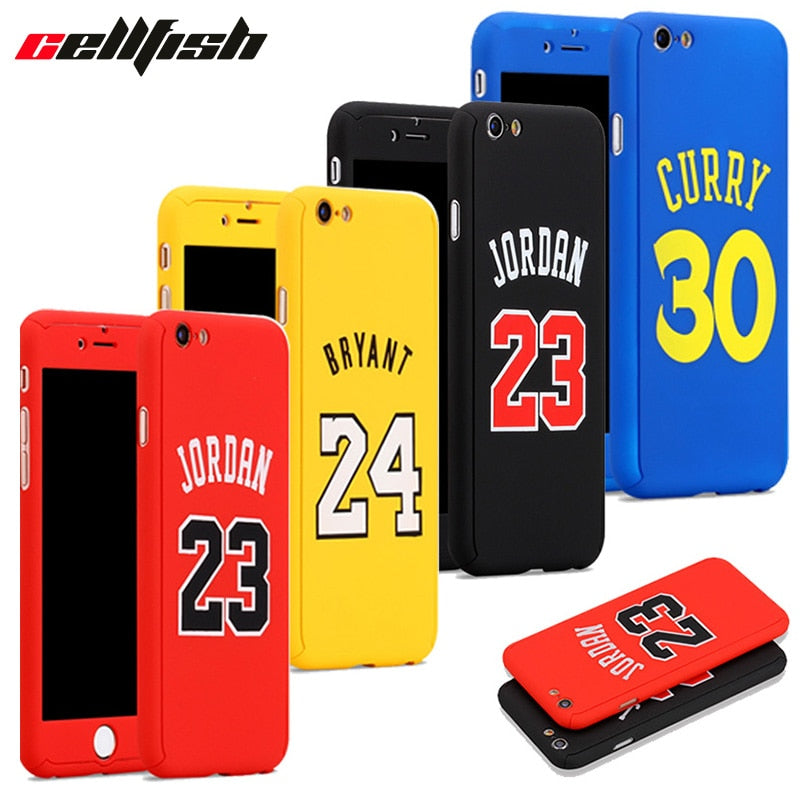 360 NBA Case + Temper Glass for funda iPhone 6 6s 7 8 Plus Michael Air Jordan Kobe Bryant curry capinha for iPhone Cover Jordan