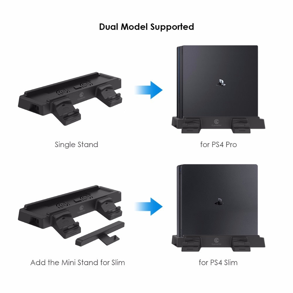 GameSir W60P430 For PS4 Pro, Slim Vertical Console Stand with Dual Controller Holder Stati, Additional 2 Cooling Fans and 2 USB