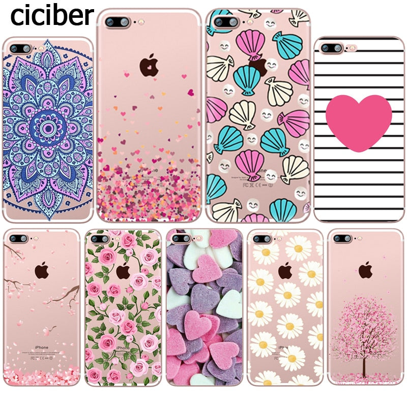 Flower Love Cherry Blossoms Rose Flowers for iphone 7 6 X 6S 8 PLUS SE 5S 7plus Capinha Case Funda Silicon Transparent Clear TPU