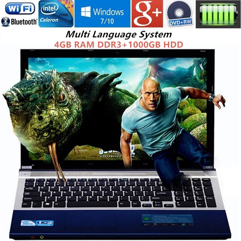 "4GB DDR3+1000GB HDD 15.6""1920x1080P Gaming Laptop N3520 Quad Core Windows7/10 Notebook PC Computer with DVD RW WIFI webcam HDMI"