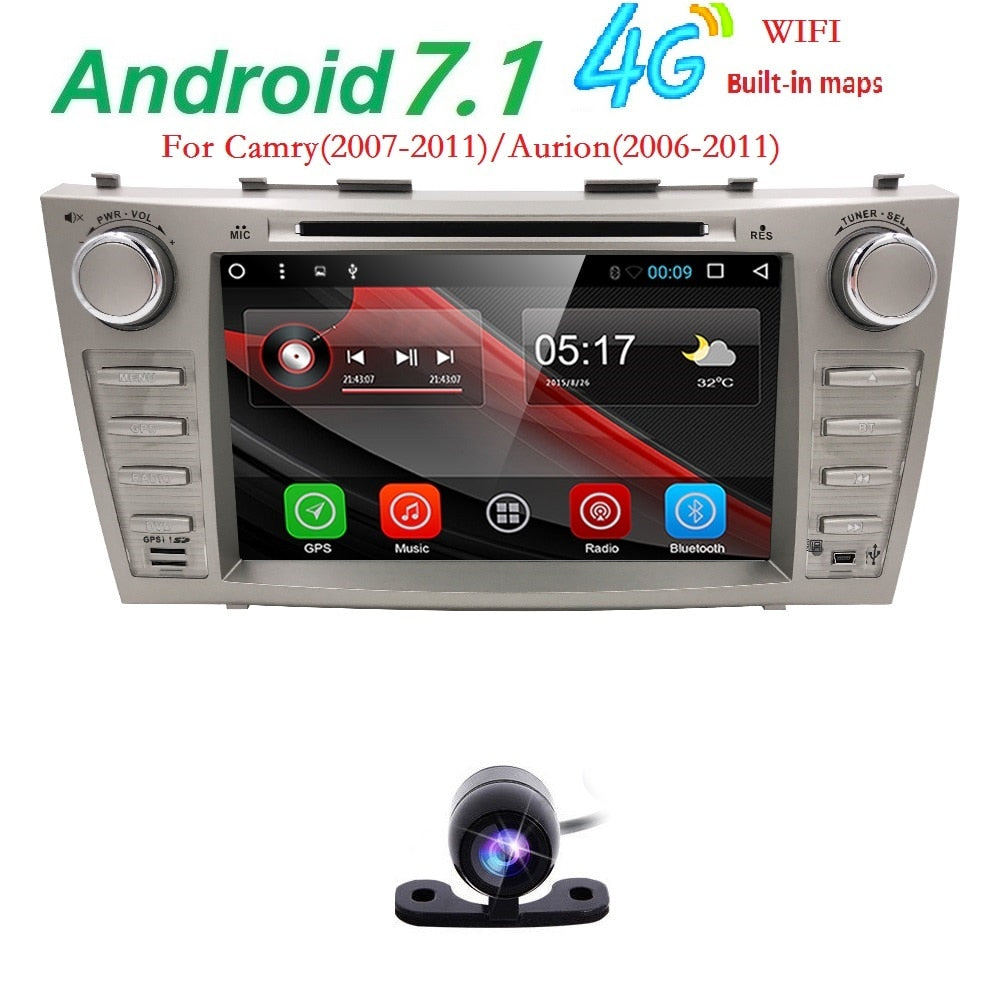 1024*600 android 7.1 car gps navigation car dvd for Toyota camry 2008 2009 2010 2011 with 4g WiFi radio bluetooth 2 din SWC DVR