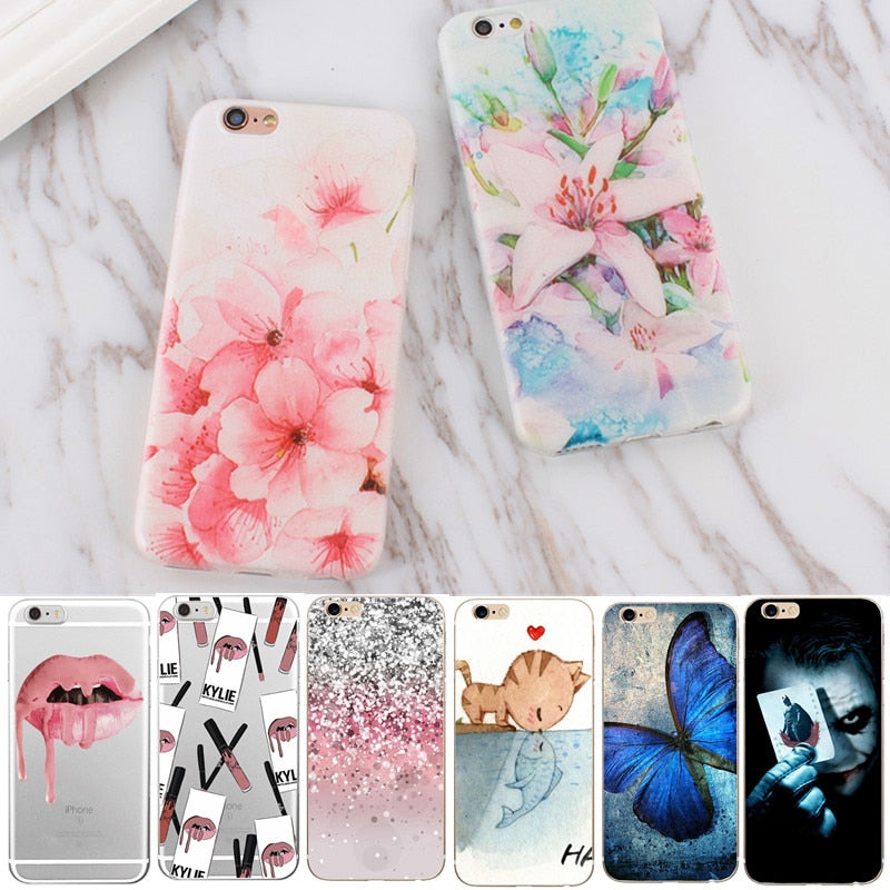 Flower Cartoon Painted Thin Silicon Phone Bags For Iphone 7 7 Plus Cases Soft Cover For Apple iPhone 5 6s 5s se 8 Plus X Case