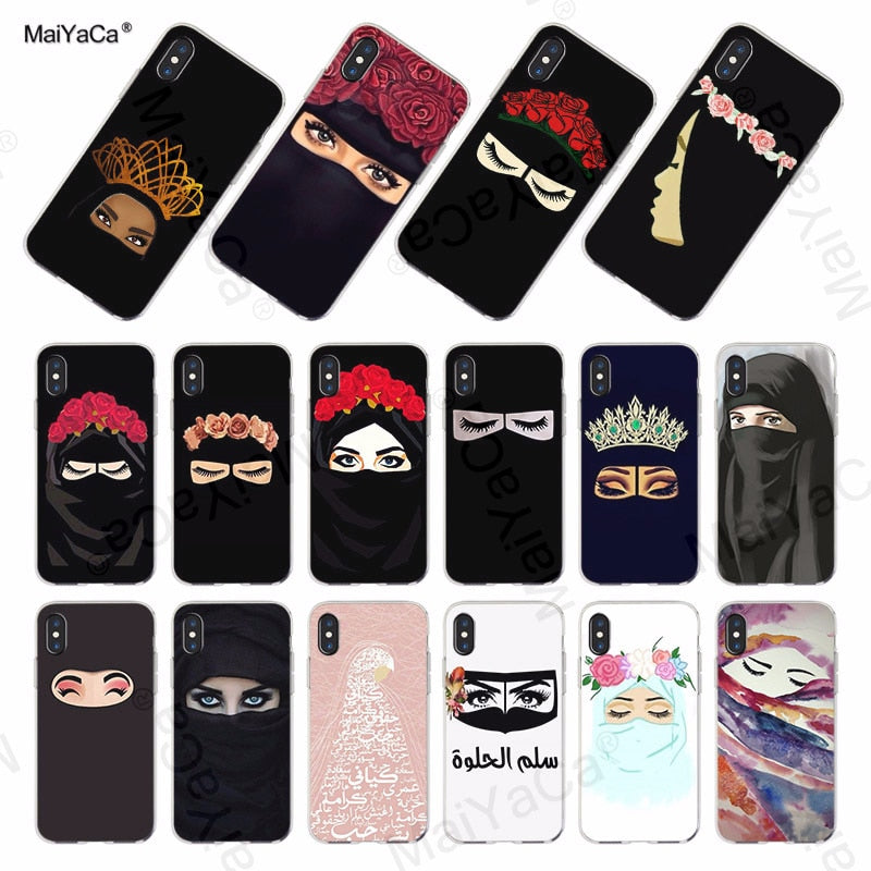 MaiYaCa Oriental Woman In Hijab Face Muslim Islamic Gril Eyes soft phone case cover for iPhone X 8 7 6S Plus 5S SE 5C Cases