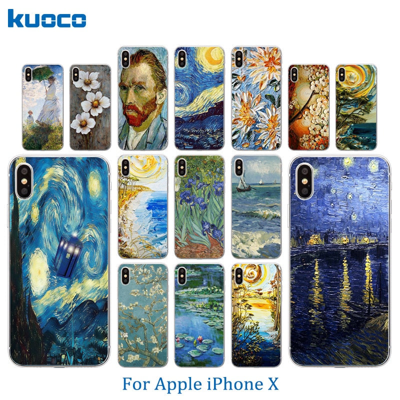 For Apple iPhone 7 / 8 Plus X 10 Phone Case Van Gogh Pattern For iPhone 5C 5S SE 6 6S Plus Shell Soft Silicone Matte Back Cover
