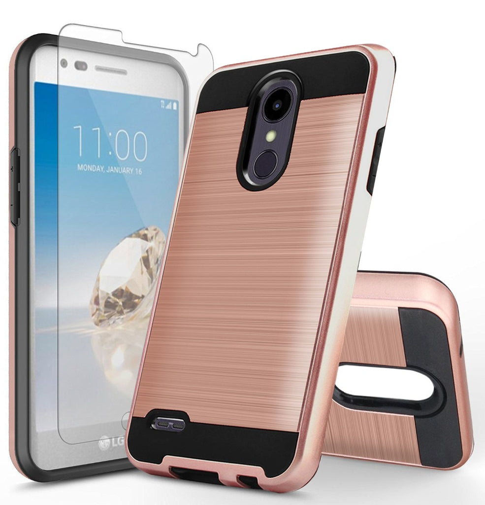 2 in 1 Hybrid Armor Cases For LG Aristo 2 X210MA /Tribute Dynasty/Rebel 3 Dual Layer Shockproof Phone Cover Skin+Tempered Glass