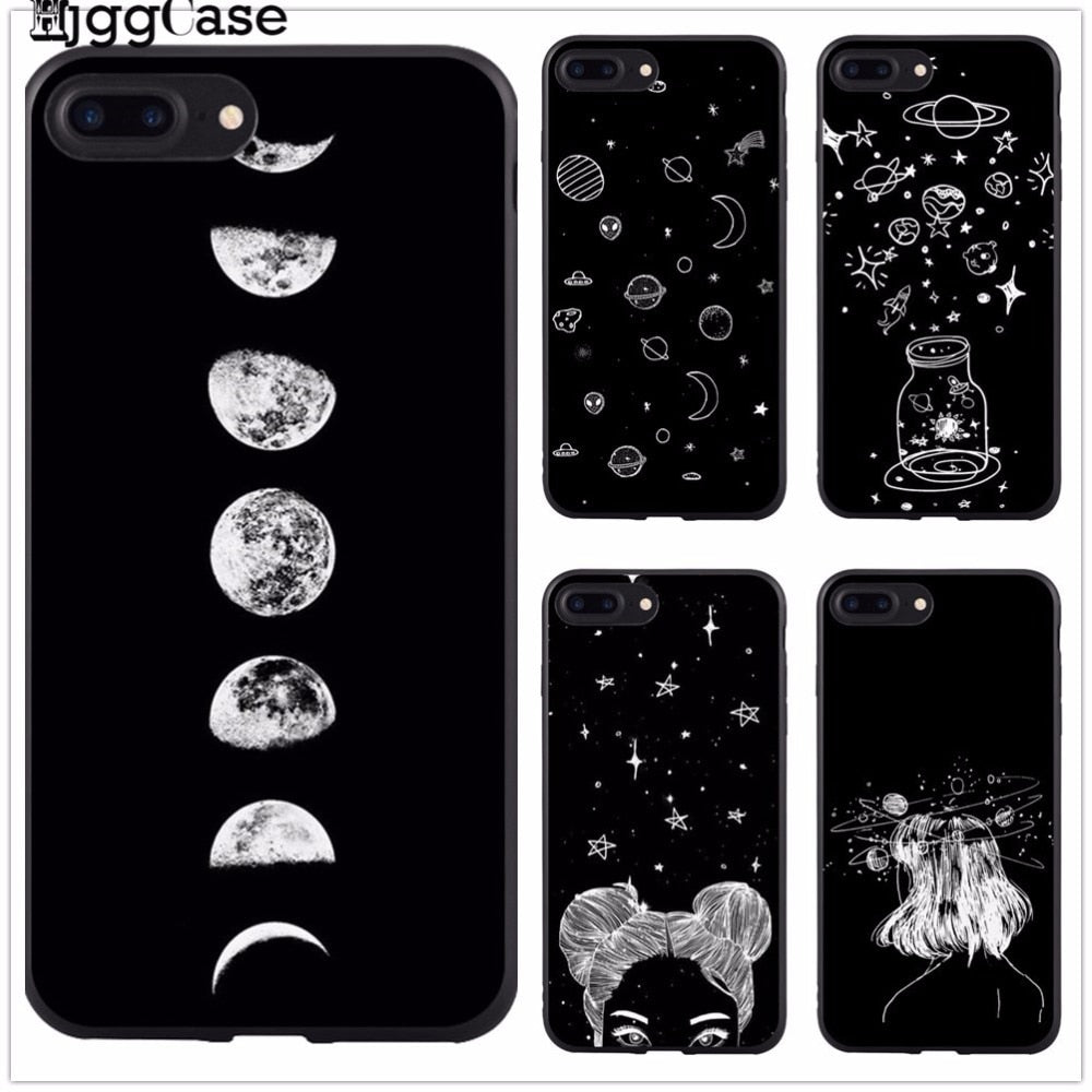 For iPhone 6 6S 6Plus 7 7Plus 8 8Plus X 5 5S SE sky Space planet Black and white sun Moon stars TPU soft Silicone Cover Case