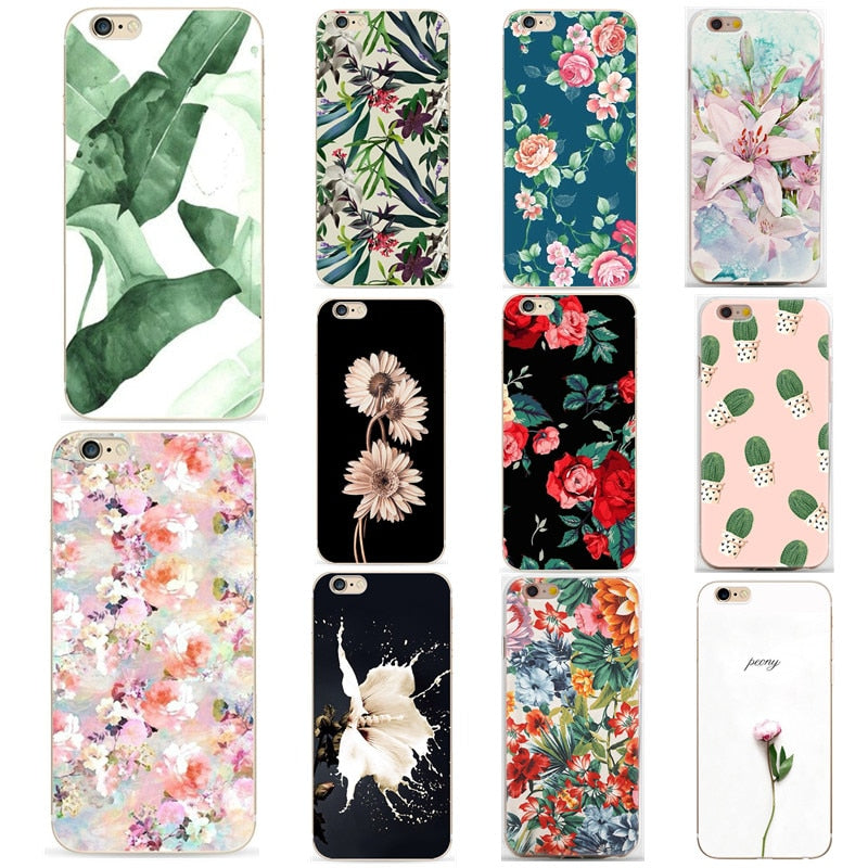 Flower Case For iPhone 7 Plus iPhone 6 Case Sexy Girly Soft TPU Cover For iPhone 7 iPhone 5S X 8 Plus Case Funda Coque
