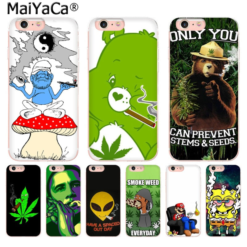 MaiYaCa Weed Smoking Care Bear SpongeBob Super Mario Funny New Arrival phone case for iPhone 8 7 6 6S Plus X 5 5S SE 5C 4 4S