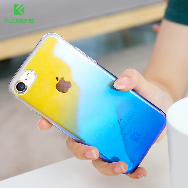 FLOVEME For iPhone X 6 6S Plus Case 5 SE Gradient Blue-Ray Light Case For Apple iPhone 7 8 Plus X 5 S SE Clear Accessories Cover