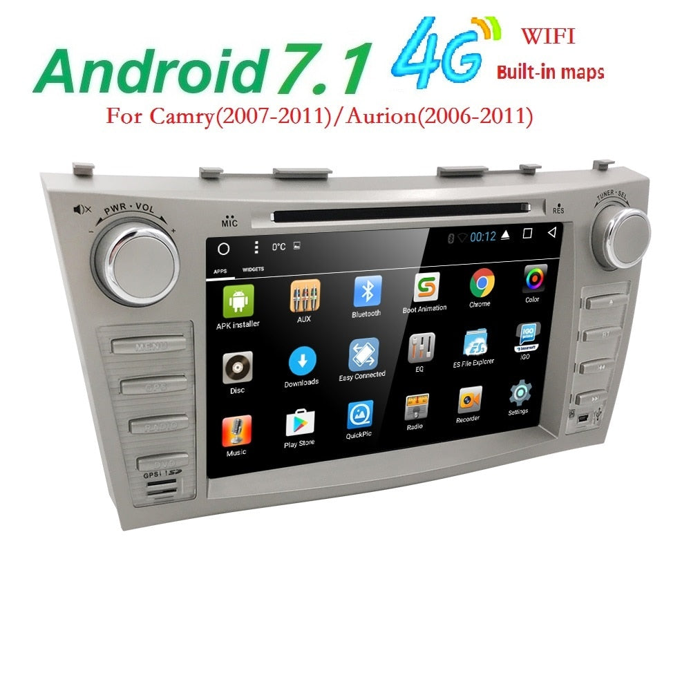 "Android 7.1 Quad Core 8"" Car DVD Player For Toyota Camry 2008-2011 GPS Navi Support ipod SD/USB Touch Screen Radio mp3 Bluetooth"