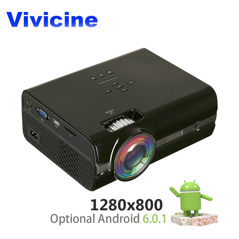 VIVICINE LED HD Projector,1280x800 resolution,Optional Android 6.0 Bluetooth,Support 4K Wifi HDMI USB LCD Home Theater Beamer