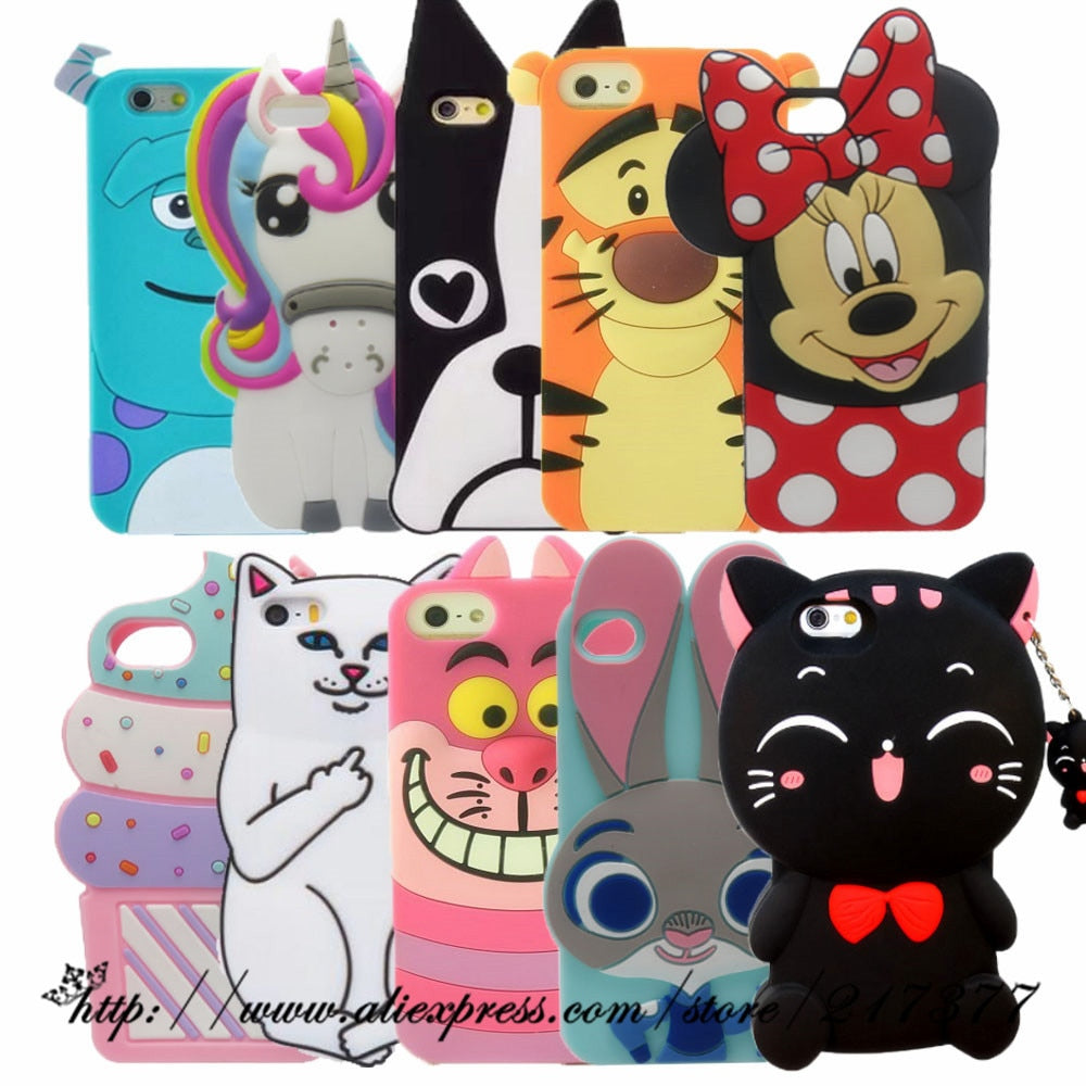 For Apple iPhone 5 5s 3D Cute Cartoon Sulley unicorn Cupcake Soft Silicone Case Cover For iphone 5C SE 6 6S 7 8 Plus phone case