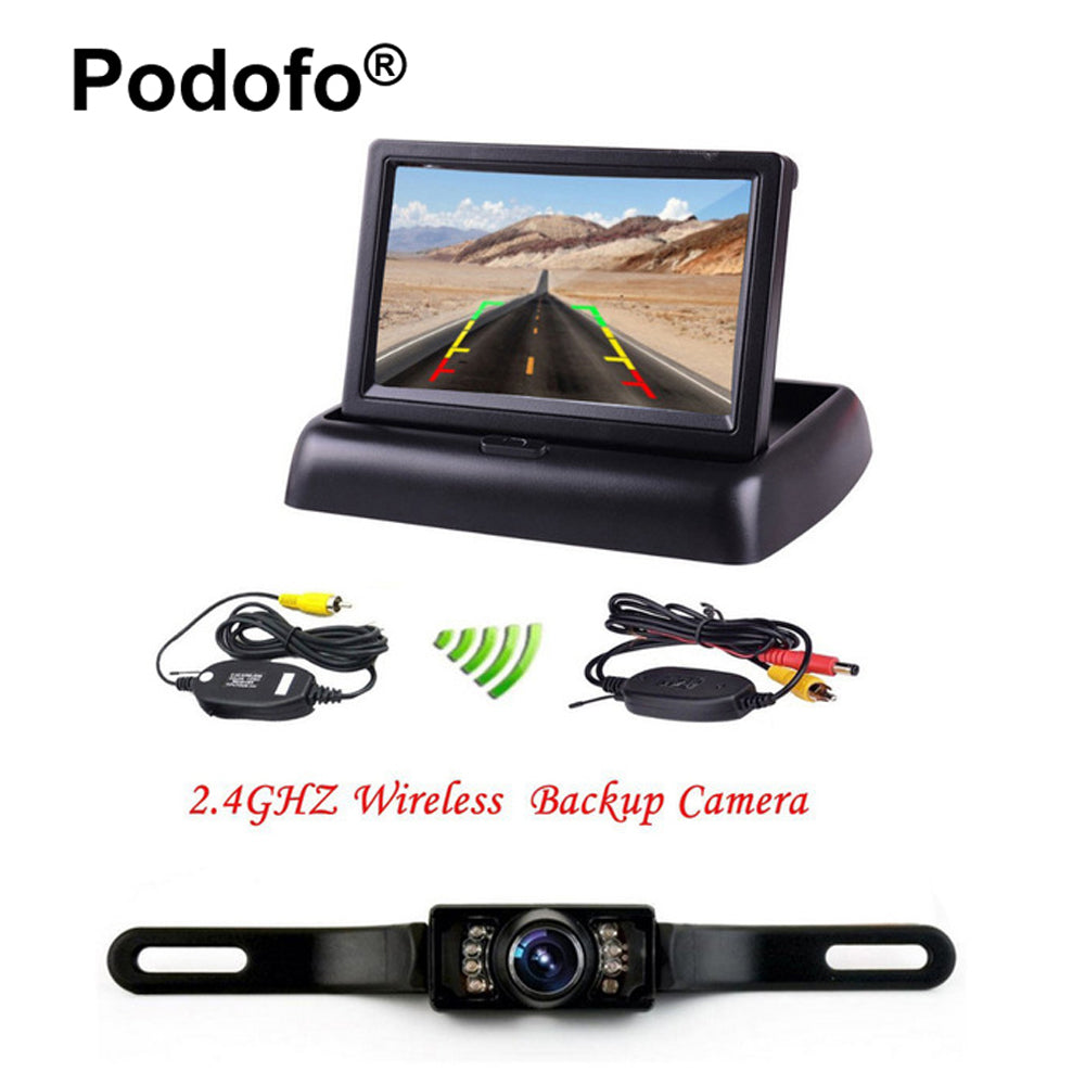 "Podofo Wireless 4.3"" LCD Foldable Car Monitor Rear View Camera for Backup Parking Reverse Cameras IR Night Vision Car-styling"
