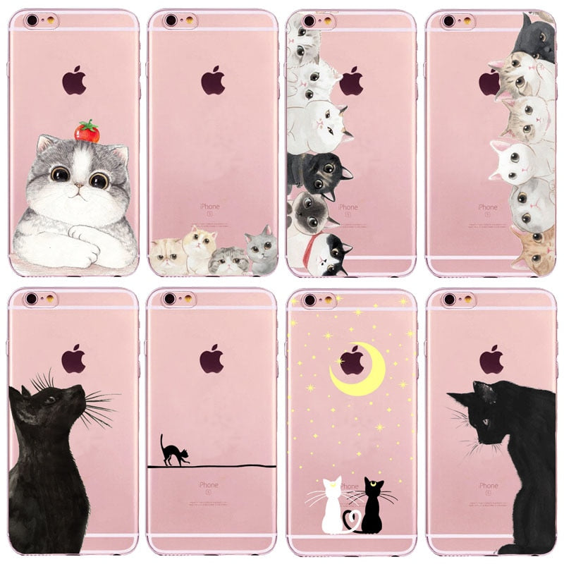 For Apple iPhone 5 5S SE Case Printed Cartoon Cat Silicone TPU Back Cover for IPhone 5 S 5 6 6S 7 8 Plus Phone Case Soft Coque